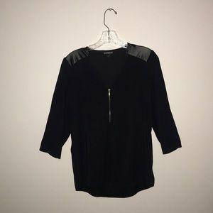 Express black blouse, faux leather shoulders